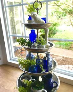 I restyled my tiered tray and the cobalt and sunlight mixture is exactly what I was hoping for . Table Farmhouse, Farmhouse Decor, French Farmhouse, Galvanized Tiered Tray, Cheap Home Decor, Diy Home Decor, Tiered Stand, Tiered Server, Tray Decor