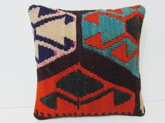orange kilim pillow oriental rug pillow by DECOLICKILIMPILLOWS