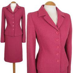 LK BENNETT SIZE 10 PINK WOOL SKIRT SUIT 1940S 40S STYLE WOMEN LADIES WOMAN