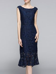 Shop Midi Dresses - Dark Blue Sleeveless Bateau/boat Neck Midi Dress online. Discover unique designers fashion at StyleWe.com.