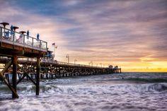 San Clemente Pier Sunset San Clemente Pier, Capistrano Beach, The Legend Of Zelda, Sunset Photos, Dodge Challenger, Night Photography, Hdr, Verona, Corvette