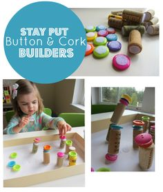Build with corks and buttons - great for fine motor development.