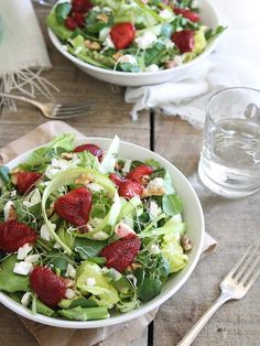 Honey roasted strawberry feta salad. Loaded with fresh spring greens of asparagus and watercress.
