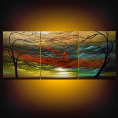 huge oversized tree painting cloud painting abstract painting landscape metallic gold bronze large bird 66 x 28 Mattsart