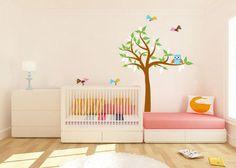 Kinder Baum Vinyl Wand Aufkleber mit Eulen Vögel von wallinspired