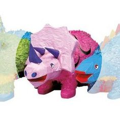 """Dinosaur Triceratops Pinata 1 pc by unique. $16.99. Dinosaur Triceratops-Pinata 1 pc  ,Size: 20"""" H x 9"""" W. Pinata buster, pinata blindfold, and pinata filler bags sold separetely."""