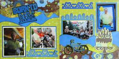 Scrapbook Page -Happy Birthday Kiwi Lane 2 page layout with a bike and a cake from Everyday Life Album 30.