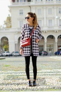 Zara dogtooth coat