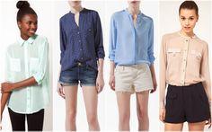 Da sinistra: Camicia menta ASOS 40 € - Camicia Zara blu pois 40 € Camicia Zara azzurra 40 €  - Camicia ASOS cipria 47 €