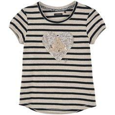 Tee-shirt rayé en jersey coton stretch - Beige