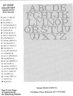alphabet chart for needlepoint or cross stitch