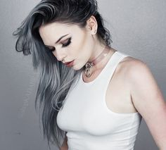 Cool silver steel grey granny hair with dark roots