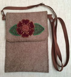 Small Handmade Felt Brown Crossbody Bag Embroidered with Beads Flower Leaves Appliques,Messenger Bag,Travel Bag,Cell Bag,Shoulder Bag,Purse by CorazonarteByIvonne on Etsy