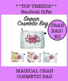 You'll love love love this Crab Bag Swag.  The perfect accessory to put your makeup in for on the go! Gifts For Women, Gifts For Her, Libra Necklace, Eagle Design, California Surf, Zodiac Jewelry, Beach Babe, Awesome Art, Beautiful Beaches