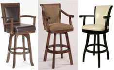 Swivel bar stools with armsSwivel bar stools with arms pictured: Left: Hillsdale Furniture 6124-830 Ambassador Swivel Bar Stool, Rich / Middle: Powell 429-432 Brandon Swivel Bar Stool / Right: Glenwood Swivel Barstool with Arms and Leather Upholstery, cream, by PASTEL CASUAL FURNITURE