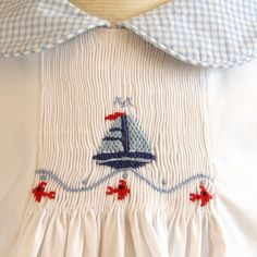 Girls Sail Boat and Fish, smocked garment, pretty colors for a girl which would also work for sister/brother outfits