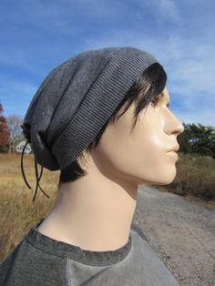 79ac1e48255 Gray Merino Wool Hats Men s Beanies Grey Slouchy by Vacationhouse