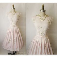 1950s pale pink embroidered garden party dress. Hopefully my summer wedding outfit??