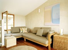 Beige Modern Living Room - Living Room Design Ideas - Photos