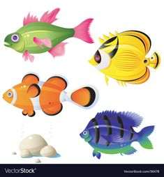 Collection of different vector funny picture cartoon animals panda tiger fish goose cow 25 Eps Kids Painting Class, Tiger Fish, Cartoon Fish, Fish Vector, Fish Stock, Fish Drawings, Fish Art, Fish Fish, Stock Foto
