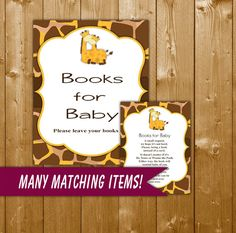 Giraffe Books for Baby Baby Shower Book Request Insert Card, Giraffe Baby Shower, Giraffe Books for Baby, BBB04O Instant Download, Books
