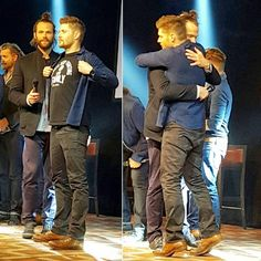 "Supernatural on Instagram: ""Jensen on his tiptoes and his hand in Jared's hair.  In closing ceremony of Jibcon7, Jared talked about the hard times he went through this time last year. Jensen showed off his akf shirt, jared patted him on the chest and then jensen hugged him."