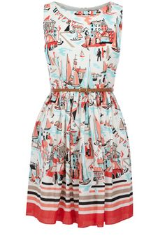 This cotton sundress has an all over scenic print and a belt to cinch in the waist. Simply zipping up the back, this piece is sleeveless in style.