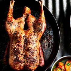 Whole crispy duck with spiced clementines