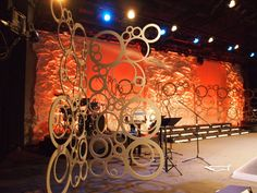 Todd Bougher at The Rock Family Worship Center in Huntsville, Alabama brings us these awesome stage structures. If you notice, they're all the same pattern formed out of MDF (medium-density fiberboard). Pretty cool design for adding a bit of depth to a flat stage (great for video recordings).