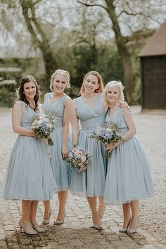 Simple Vintage Tea Length V-neck Ice Blue Bridesmaid Dress