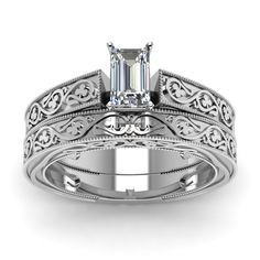 Engraved Milgrain Emerald Cut diamond Wedding Ring Sets in 14K White Gold exclusively styled by Fascinating Diamonds