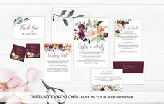 Rustic Floral Wedding Invitation Set Template  Printable