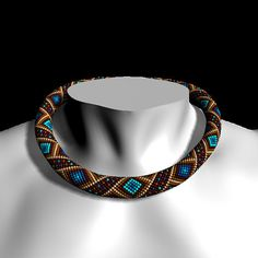 Bead crochet pattern Sokol Seed Bead Necklace Pattern by ViolaOla