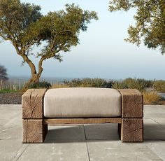 Rustic Ottoman. Outdoor. Country. Modern Farmhouse Décor.