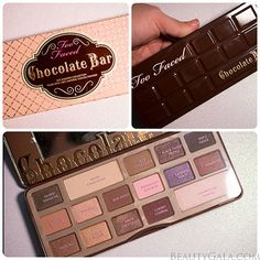 "Too Faced ""Chocolate Bar"" Palette... Eye shadows that smell like chocolate! Can't wait to play with this!"