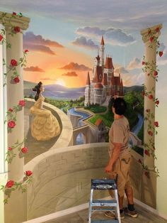 Gary Gomez paints a custom residential nursery mural. Beauty and the beast theme. Disney Themed Nursery, Baby Nursery Themes, Girl Nursery, Nursery Ideas, Disney Mural, Casa Disney, Nursery Paintings, Mural Painting, Nursery Murals