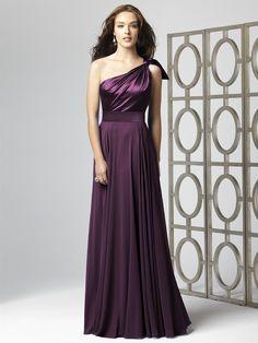 Holy mama! Smokin' one-shoulder satin aubergine full-length bridesmaid dress with full skirt