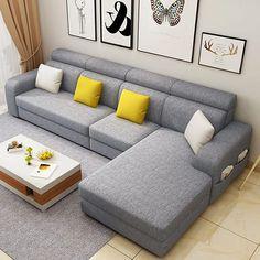 Corner Sofa Design, Sofa Bed Design, Living Room Sofa Design, Bedroom Furniture Makeover, Bedroom Furniture Design, Classy Living Room, Living Room Sets, L Type Sofa, L Shaped Sofa Designs