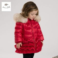 81.61$  Buy here - http://alilx5.worldwells.pw/go.php?t=32721075767 - DB3390 dave bella  winter infant coat baby down padded coat girls white duck down feather coat girls red pink  coat  jacket