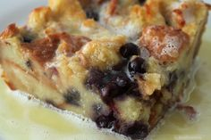 White chocolate, blueberries, & bread pudding together. I feel dirty.