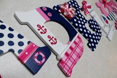 Pink and Navy Nautical Sailboat Themed by KraftinMommy on Etsy, $15.00