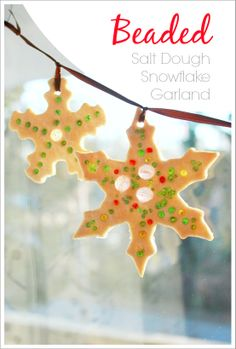Beaded Salt Dough Snowflake Garland -- Easy to make and so beautiful! Does your family like to make salt dough ornaments at Christmas?