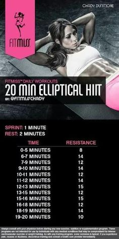 Fitmiss 20 min elliptical HIIT workout by menafreed