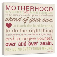 Motherhood Mother Daughter Quote gift for mom parents gift Wedding, Vows,12x12 canvas art. $125.00, via Etsy.