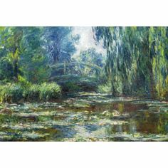 Water Lily Pond and Bridge : Claude Monet : Impressionism : flower painting - Oil Painting Reproductions Pierre Auguste Renoir, Claude Monet, Monet Paintings, Landscape Paintings, Landscapes, Artist Monet, Monet Water Lilies, Framed Canvas Prints, Canvas Art