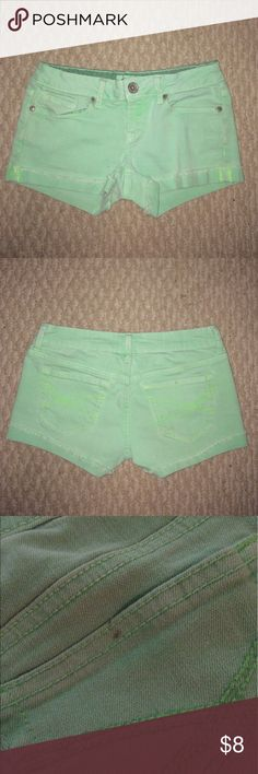 Shorts These mint green shorts are a size one. The is a very small stain on the back pocket as you can see it the pictures. I have not tried to get it out but will if you are interested in purchasing. Other than that these shorts are in great condition. Aeropostale Shorts Jean Shorts