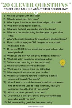 If you want to find out how your child's day was, you have to be really strategic. Here's 20 clever questions to get your child talking about their school day!
