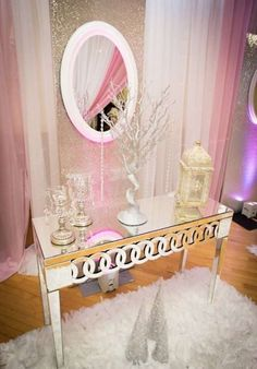 Pink and white winter wonderland baby shower | CatchMyParty.com