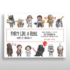 CUSTOMIZED PRINTABLE Star Wars Invitations Invite Birthday Party