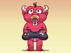 www.mascotize.com - devil cute baby mascot gamer